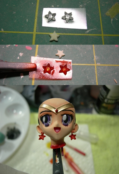 replaced original earrings with star shaped rhinestones and painted them red :D